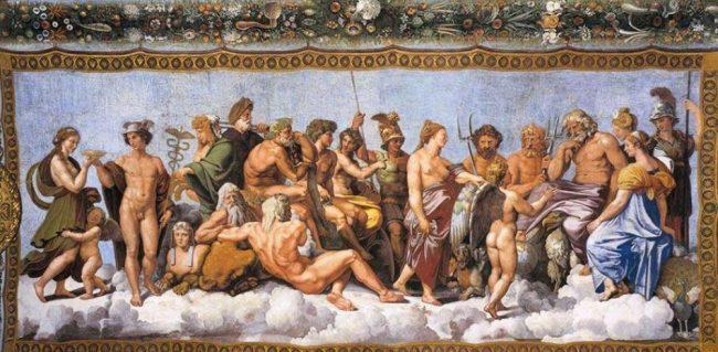 Los dioses en el Olimpo. Rafael Sanzio, 1517