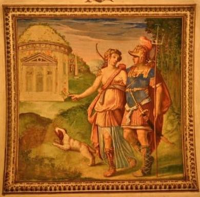 Hipomenes y Atalanta frente al santuario de Cibeles. Rómulo Cincinnato, 1579